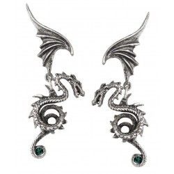 Bestia Regalis Dragon Earring Pair Step Out of Time Steampunk and More Steampunk Costumes, Victorian Clothing, Pirate Costumes, Renne Faire Clothing
