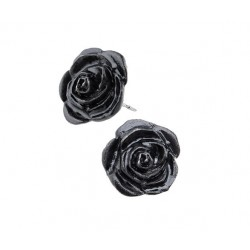 Black Rose Stud Earrings Step Out of Time Steampunk and More Steampunk Costumes, Victorian Clothing, Pirate Costumes, Renne Faire Clothing