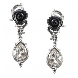 Bacchanal Black Rose Drop Earrings Step Out of Time Steampunk and More Steampunk Costumes, Victorian Clothing, Pirate Costumes, Renne Faire Clothing