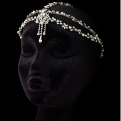 Pearl and Rhinestone Forehead Accent Head Piece Step Out of Time Steampunk and More Steampunk Costumes, Victorian Clothing, Pirate Costumes, Renne Faire Clothing