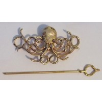 Octopus Bronze Steampunk Hair Barrette