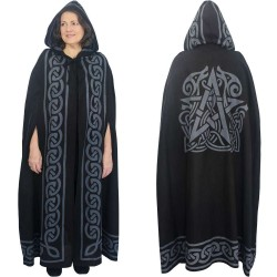 Pentacle Black Hooded Cloak Step Out of Time Steampunk and More Steampunk Costumes, Victorian Clothing, Pirate Costumes, Renne Faire Clothing