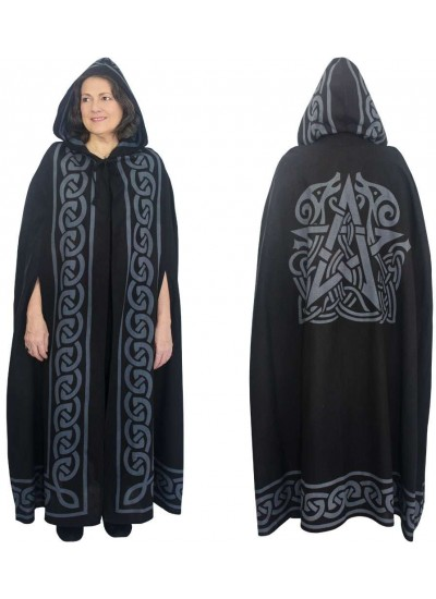 Pentacle Black Hooded Cloak at Step Out of Time Steampunk and More, Steampunk Costumes, Victorian Clothing, Pirate Costumes, Renne Faire Clothing