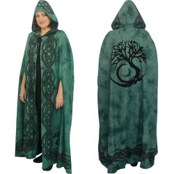Green Tree of Life Hooded Cloak Step Out of Time Steampunk and More Steampunk Costumes, Victorian Clothing, Pirate Costumes, Renne Faire Clothing