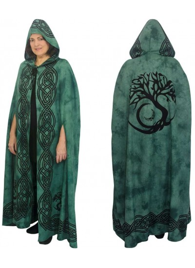 Green Tree of Life Hooded Cloak at Step Out of Time Steampunk and More, Steampunk Costumes, Victorian Clothing, Pirate Costumes, Renne Faire Clothing