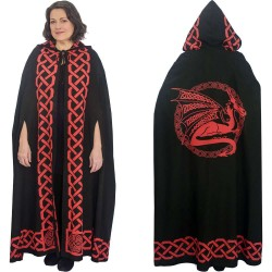 Red Dragon Black Hooded Cloak Step Out of Time Steampunk and More Steampunk Costumes, Victorian Clothing, Pirate Costumes, Renne Faire Clothing