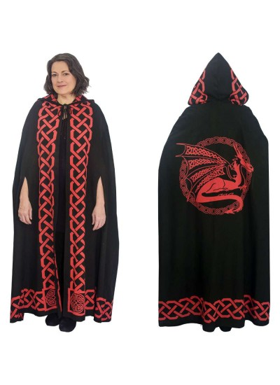 Red Dragon Black Hooded Cloak at Step Out of Time Steampunk and More, Steampunk Costumes, Victorian Clothing, Pirate Costumes, Renne Faire Clothing