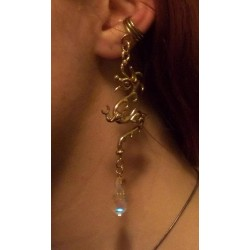 Bronze Dragon Ear Cuff with Crystal Step Out of Time Steampunk and More Steampunk Costumes, Victorian Clothing, Pirate Costumes, Renne Faire Clothing