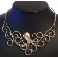 Octopus Steampunk Necklace in Bronze