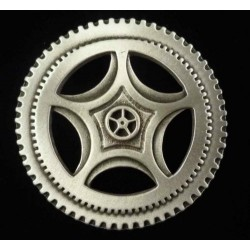 Steampunk Clock Gear Large Pewter Brooch Pin Step Out of Time Steampunk and More Steampunk Costumes, Victorian Clothing, Pirate Costumes, Renne Faire Clothing