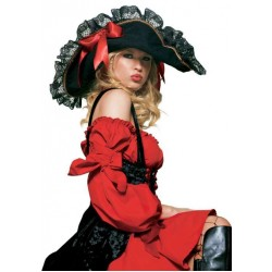 Lace Trimmed Pirate Hat Step Out of Time Steampunk Costumes, Victorian Clothing, Pirate Costumes, Renne Faire Clothing