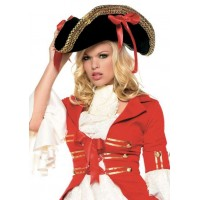 Pirate Captains Hat with Wide Gold Braid