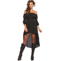 Black Gauze High Low Peasant Dress