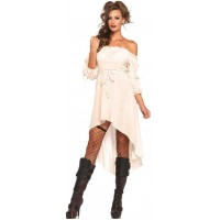 Ivory Gauze High Low Peasant Dress