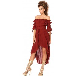 Burgundy Gauze High Low Peasant Dress Step Out of Time Steampunk and More Steampunk Costumes, Victorian Clothing, Pirate Costumes, Renne Faire Clothing