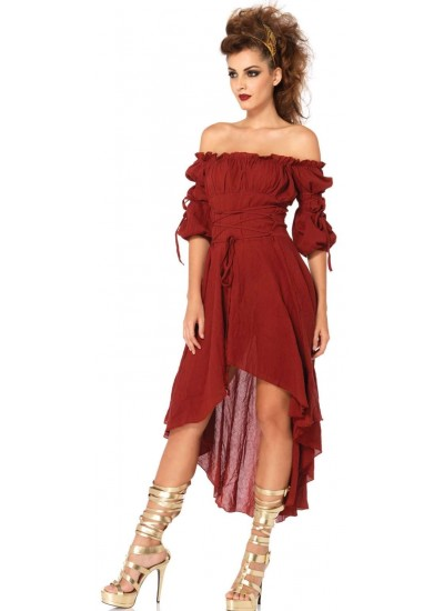 Burgundy Gauze High Low Peasant Dress at Step Out of Time Steampunk and More, Steampunk Costumes, Victorian Clothing, Pirate Costumes, Renne Faire Clothing