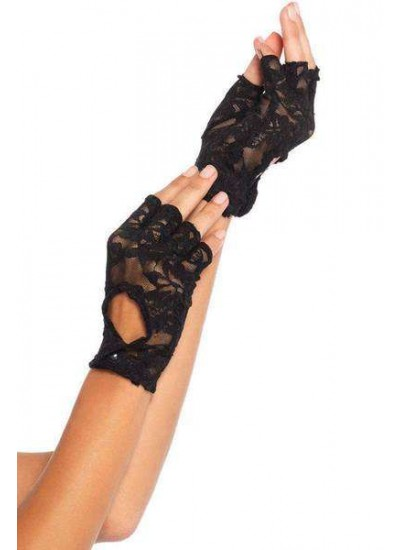 Black Lace Keyhole Back Fingerless Gloves at Step Out of Time Steampunk and More, Steampunk Costumes, Victorian Clothing, Pirate Costumes, Renne Faire Clothing