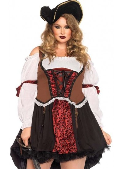 Ruthless Pirate Wench Plus Size Halloween Costume at Step Out of Time, Steampunk Costumes, Victorian Clothing, Pirate Costumes, Renne Faire Clothing