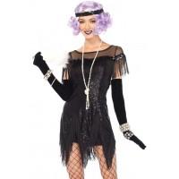 Foxtrot Flirt Roaring 20s Black Flapper Costume