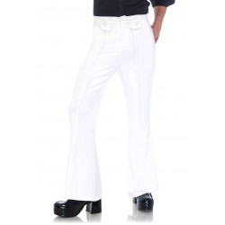 Mens White Bell Bottom Disco Pants Step Out of Time Steampunk and More Steampunk Costumes, Victorian Clothing, Pirate Costumes, Renne Faire Clothing