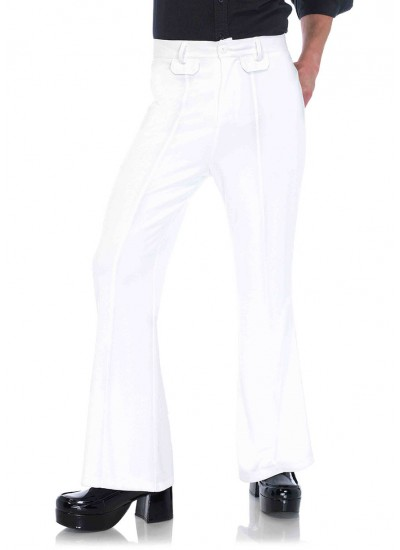 Mens White Bell Bottom Disco Pants