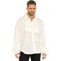 Ruffle Front Mens White Shirt
