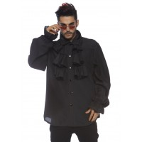 Ruffle Front Black Mens Shirt