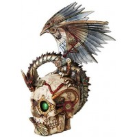 Steampunk Dragon Skull Statue