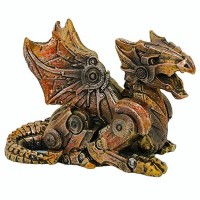 Steampunk Winged Small Dragon Statue