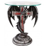 Dragon Cross Glass Top Accent Table at Step Out of Time Steampunk and More, Steampunk Costumes, Victorian Clothing, Pirate Costumes, Renne Faire Clothing