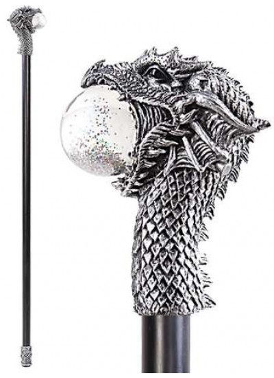 Dragon Head Walking Stick Gothic Gents Cane with Light Up Orb at Step Out of Time, Steampunk Costumes, Victorian Clothing, Pirate Costumes, Renne Faire Clothing