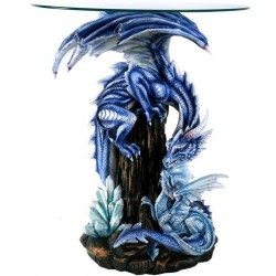 Dragon Family Glass Top Accent Table