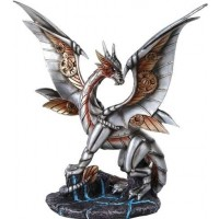 Steampunk Silver Dragon Statue