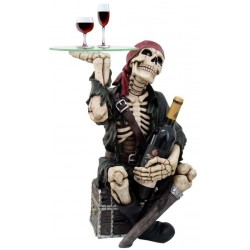 Pirate Skeleton Glass Top Accent Table and Wine Holder Step Out of Time Steampunk and More Steampunk Costumes, Victorian Clothing, Pirate Costumes, Renne Faire Clothing