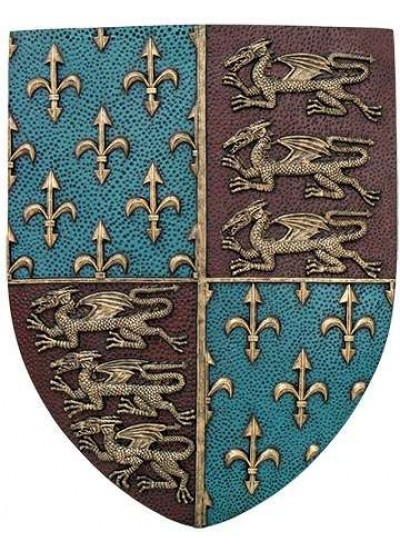 Fleur de Lis and Lions Medievel Knights Shield Plaque at Step Out of Time Steampunk and More, Steampunk Costumes, Victorian Clothing, Pirate Costumes, Renne Faire Clothing