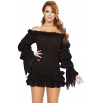 Ruffled Black Gothic Pirate Dress at Step Out of Time Steampunk and More, Steampunk Costumes, Victorian Clothing, Pirate Costumes, Renne Faire Clothing
