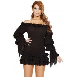 Ruffled Black Gothic Pirate Dress Step Out of Time Steampunk and More Steampunk Costumes, Victorian Clothing, Pirate Costumes, Renne Faire Clothing