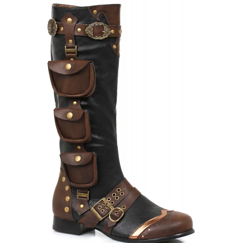 huge selection of b1f7b d6976 Amos Multi Pocket Steampunk Mens Knee High Boots at Step Out of Time  Steampunk and More