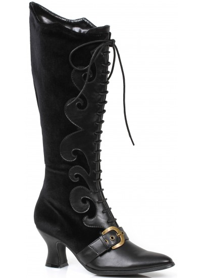 Fain Black Velvet Witches Boot at Step Out of Time Steampunk and More, Steampunk Costumes, Victorian Clothing, Pirate Costumes, Renne Faire Clothing