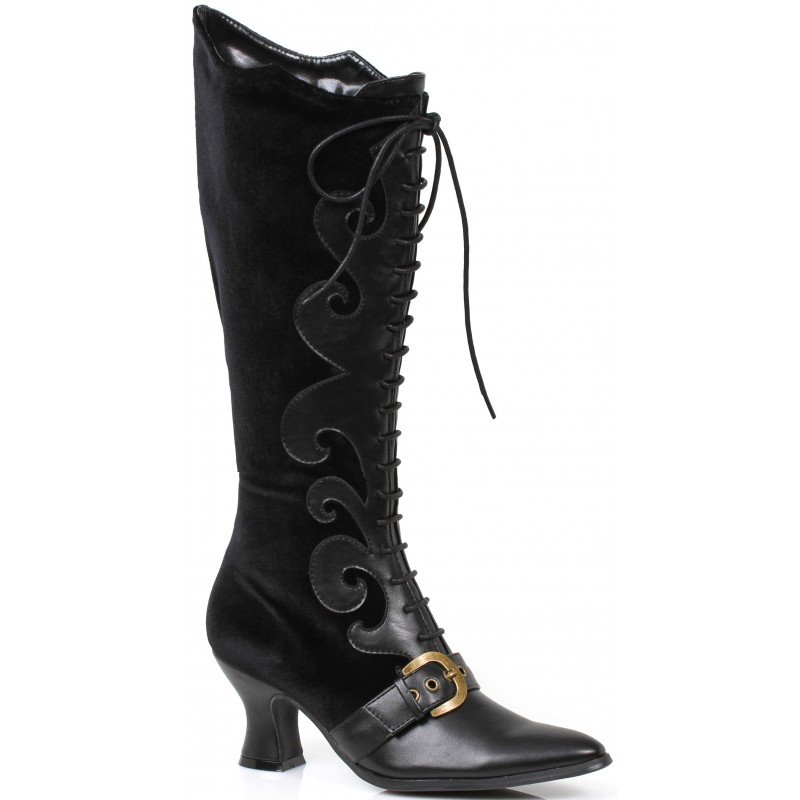 Fain Black Velvet Witches Boot with 2.5