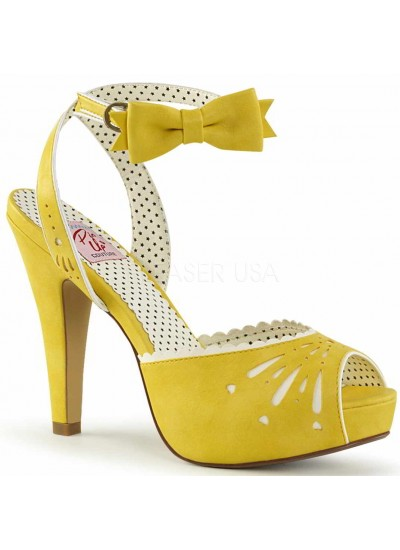 Vintage Bettie Yellow Ankle Bow Peep Toe Pump at Step Out of Time Steampunk and More, Steampunk Costumes, Victorian Clothing, Pirate Costumes, Renne Faire Clothing