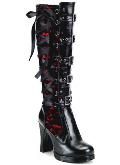 Crypto Lace Overlay Knee Boot at Step Out of Time Steampunk and More, Steampunk Costumes, Victorian Clothing, Pirate Costumes, Renne Faire Clothing