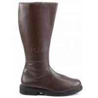 Captain Mid Calf Plain Brown Boots