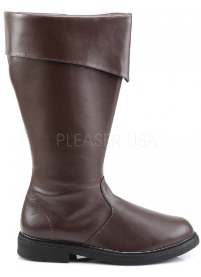 Captain Mid Calf Cuffed Brown Boots