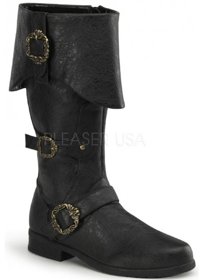 Carribean Distressed Black Pirate Boots