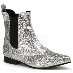 Chelsea Silver Glitter Mens Booties Step Out of Time Steampunk and More Steampunk Costumes, Victorian Clothing, Pirate Costumes, Renne Faire Clothing