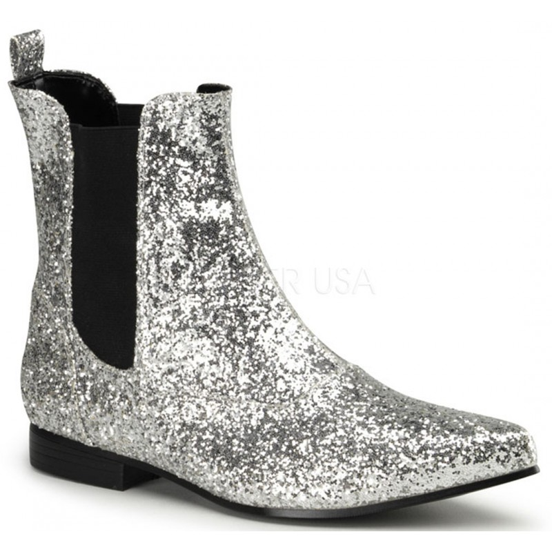 Chelsea Silver Glitter Mens Booties