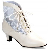 Victorian Dame Ivory Ankle Boot