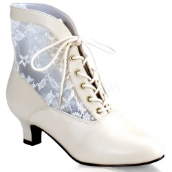 Victorian Dame Ivory Ankle Boot Step Out of Time Steampunk and More Steampunk Costumes, Victorian Clothing, Pirate Costumes, Renne Faire Clothing