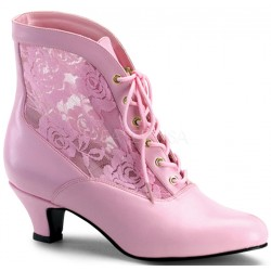 Victorian Dame Baby Pink Ankle Boot Step Out of Time Steampunk and More Steampunk Costumes, Victorian Clothing, Pirate Costumes, Renne Faire Clothing